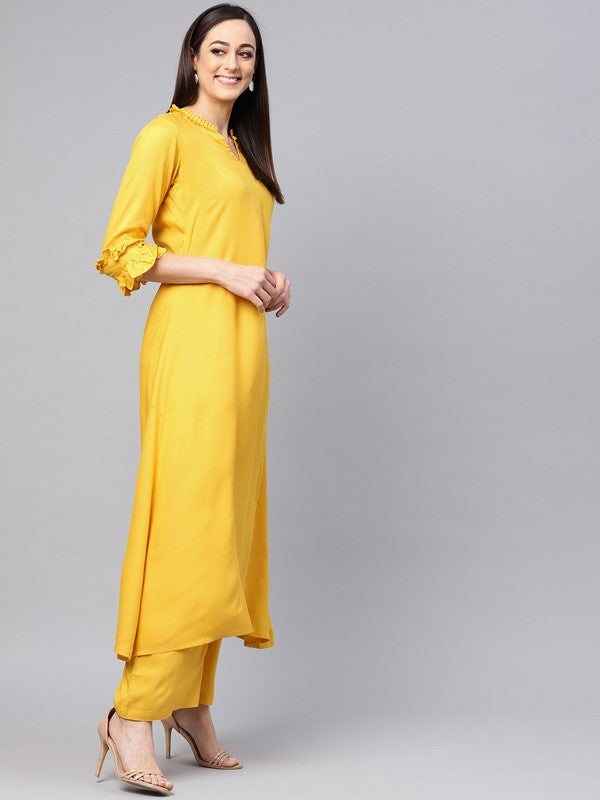 Idalia Lemon Yellow A-line Kurta With Palazzo Pants
