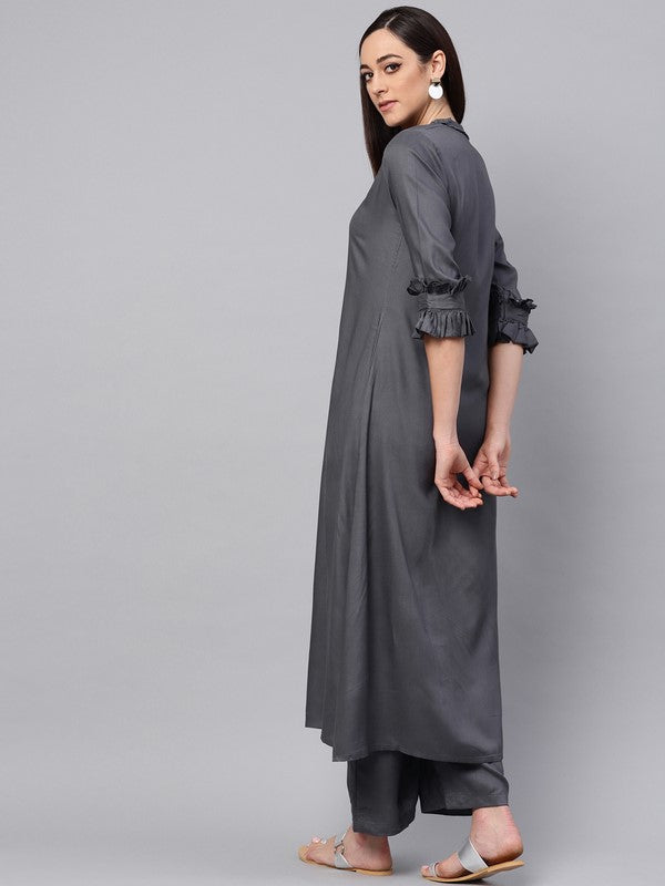 Idalia Grey A-line Kurta With Palazzo Pants