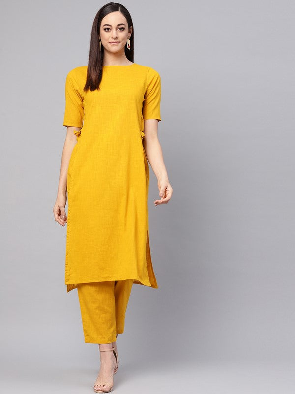 Idalia Mustard Color Straight Kurta With Pants