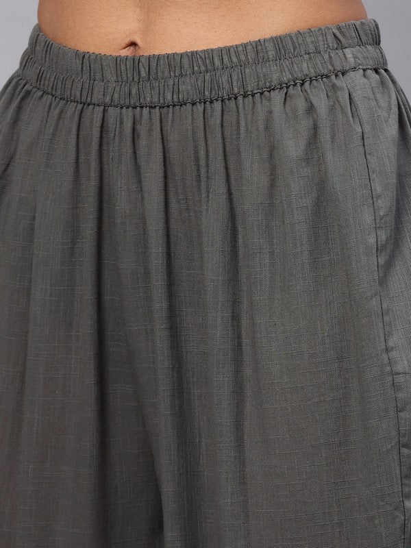 Idalia Grey Straight Kurta With Pants