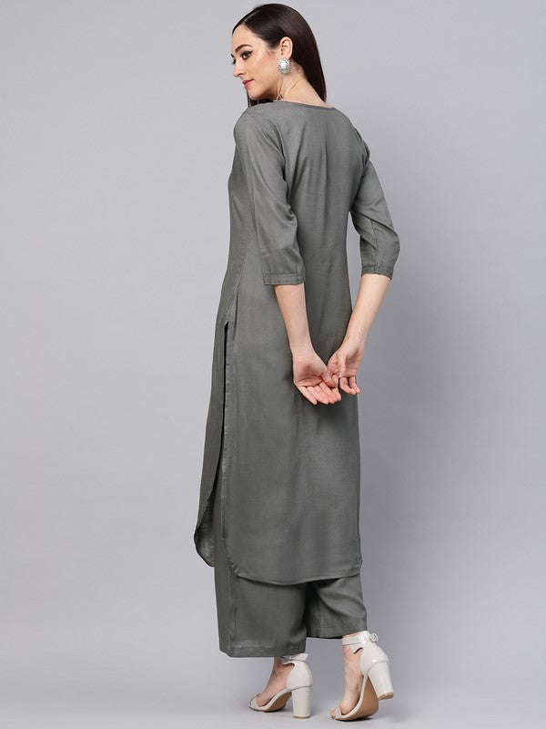 Idalia Grey Kurta With Palazzo Pants
