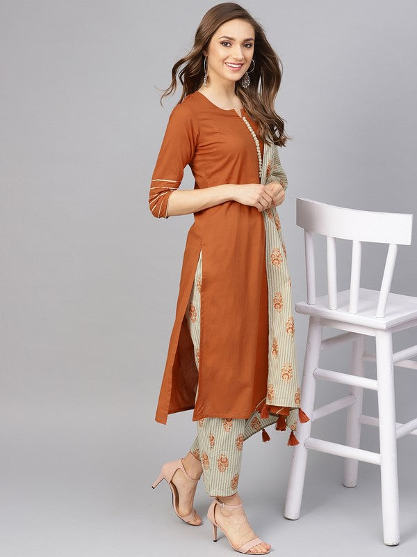 Idalia Rust Kurta With Printed Pants And Dupatta
