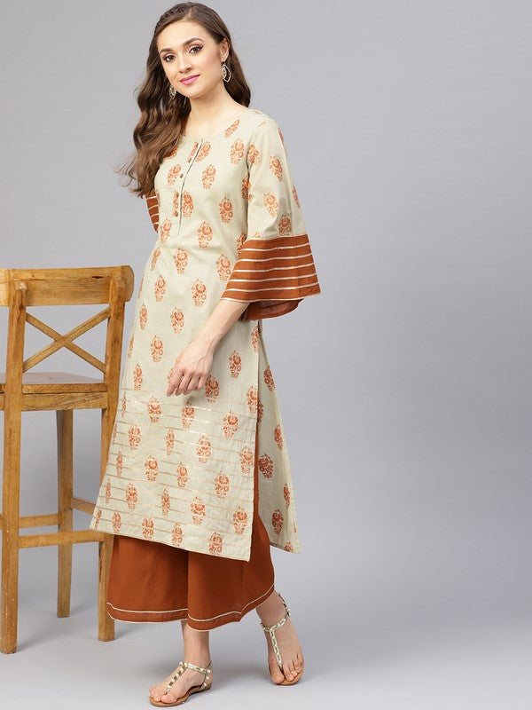 Idalia Sage Green Printed Kurta With Brown Palazzo Pants