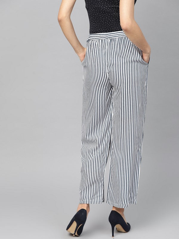 Idalia Blue And White Lining Print Palazzo Pants