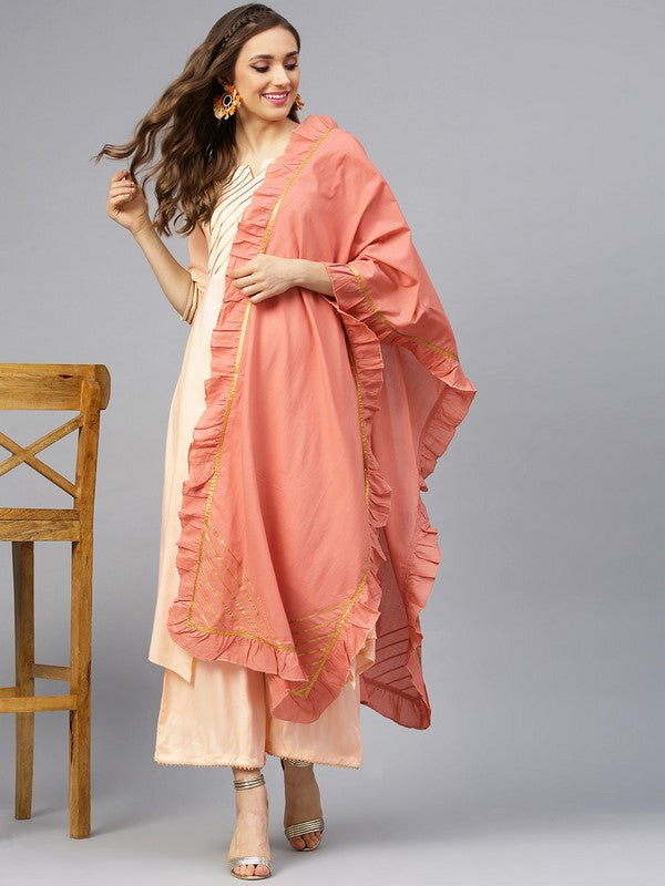Idalia Almond Kurta Set With Salmon Dupatta