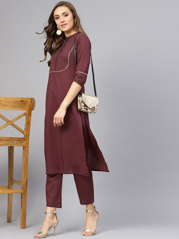 Idalia Raspberry Color Kurta With Pants