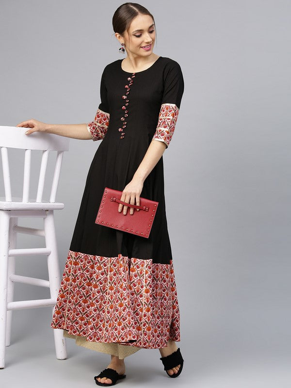 Idalia Black Anarkali Kurta With Pink Jaal Print Border
