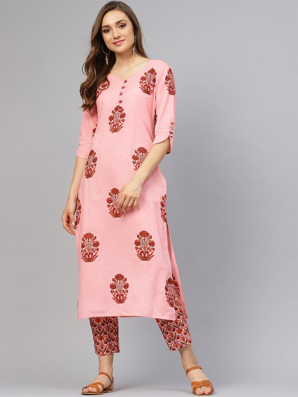 Idalia Pink Printed Kurta With Pants