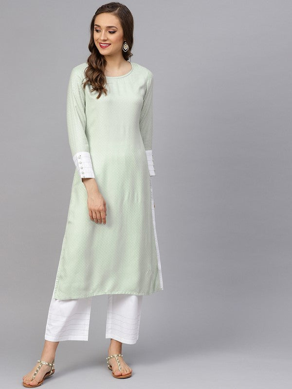 Idalia Sage Green Textured Kurta With White Pants