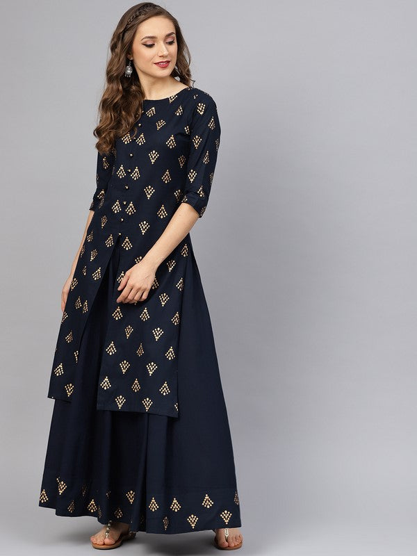 Idalia Printed Kurta With Navy Blue Skirt