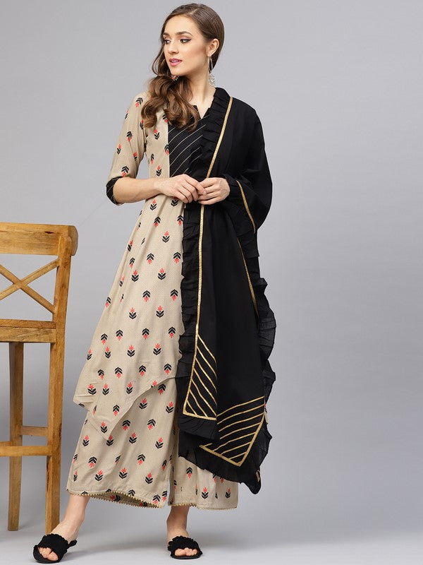 Idalia Beige Printed Kurta Set With Black Dupatta
