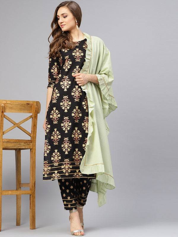 Idalia Black Printed Kurta Set With Sage Green Dupatta