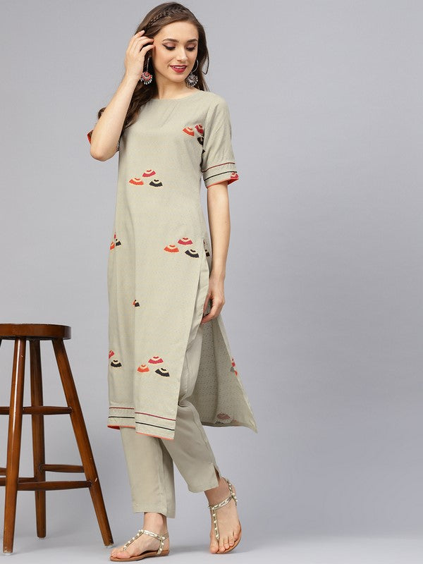 Idalia Sage Green Umbrella Print Kurta With Pants