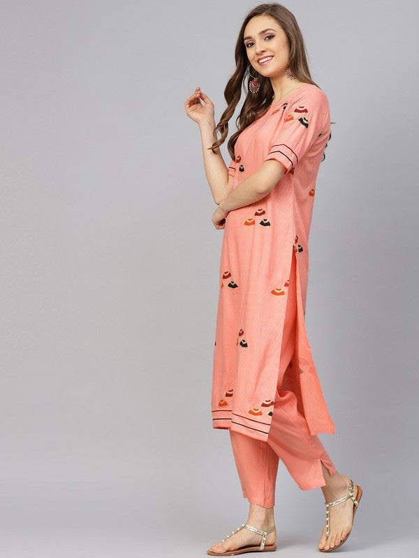 Idalia Peach Umbrella Print Kurta With Pants