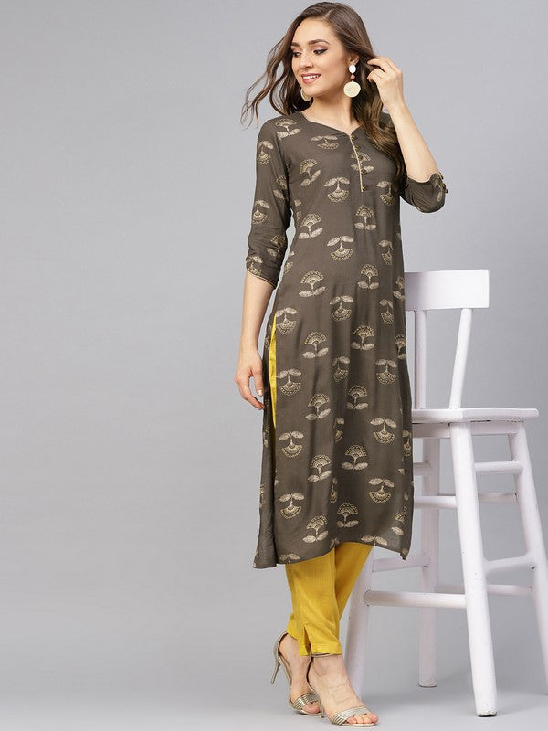 Idalia Grey Printed Straight Kurta With Mustard Pants