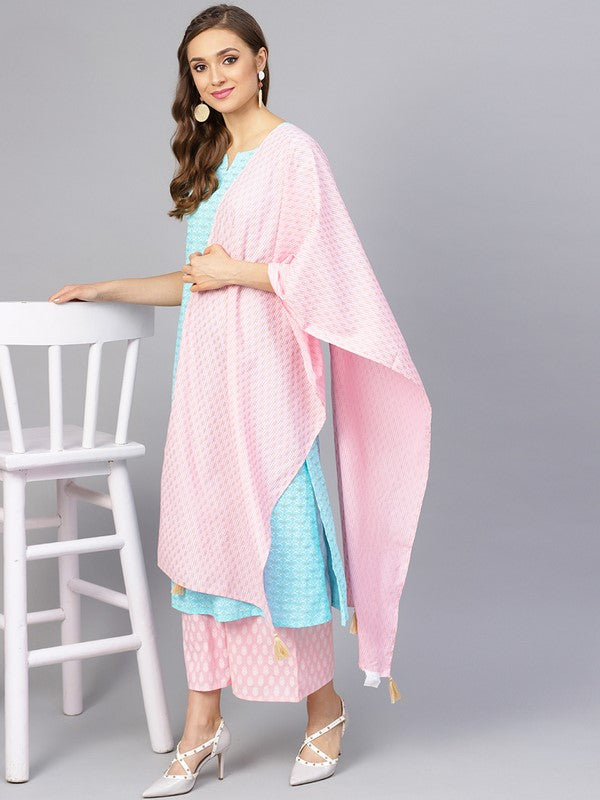 Idalia Sky Blue And Baby Pink Khadi Gold Print Kurta Set With Dupatta