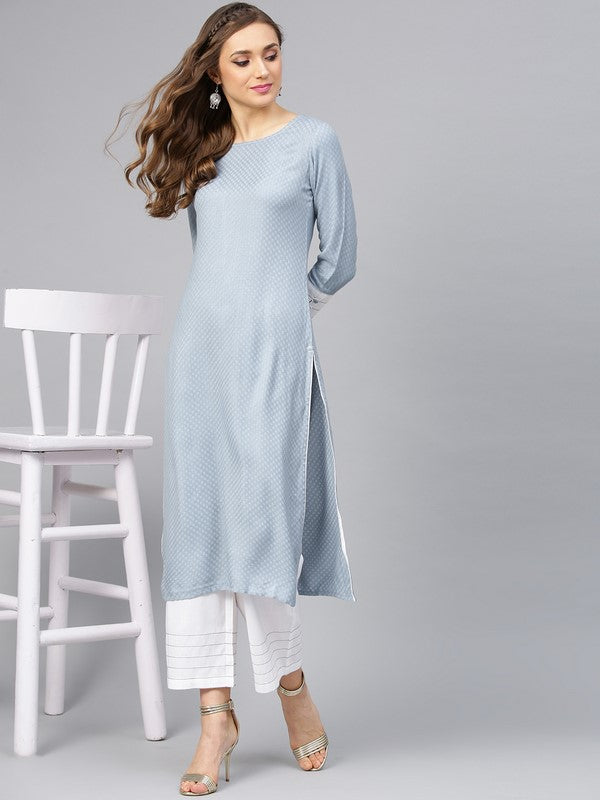 Idalia Sage Blue Textured Kurta With Pants