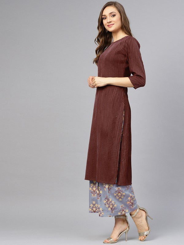 Idalia Coffee Pintuck With Printed Palazzo Pants