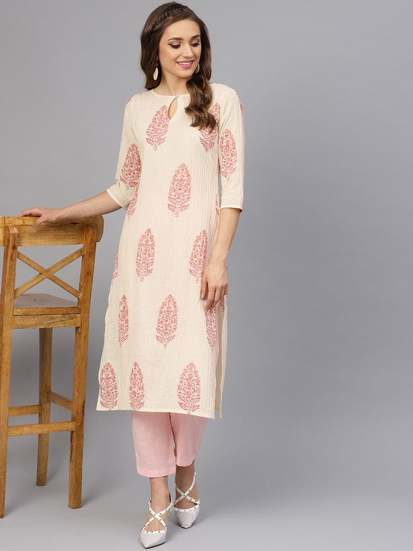 Idalia Cream And Baby Pink Hand Block Print Kurta With Cotton Pants