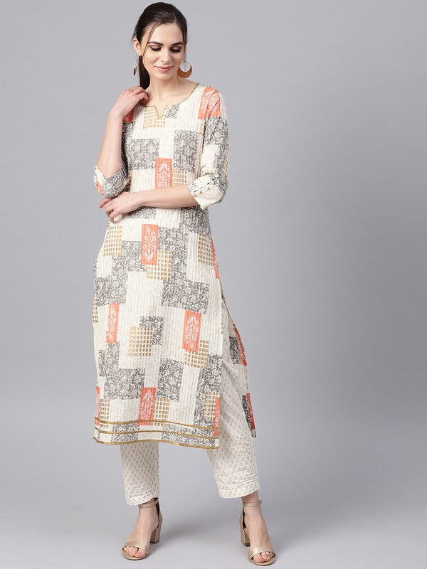 Idalia Off White Printed Kurta With Printed Pants