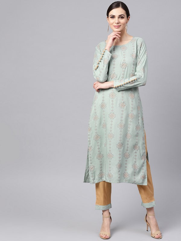 Idalia Rayon Printed Straight Kurta With Camel Color Pants