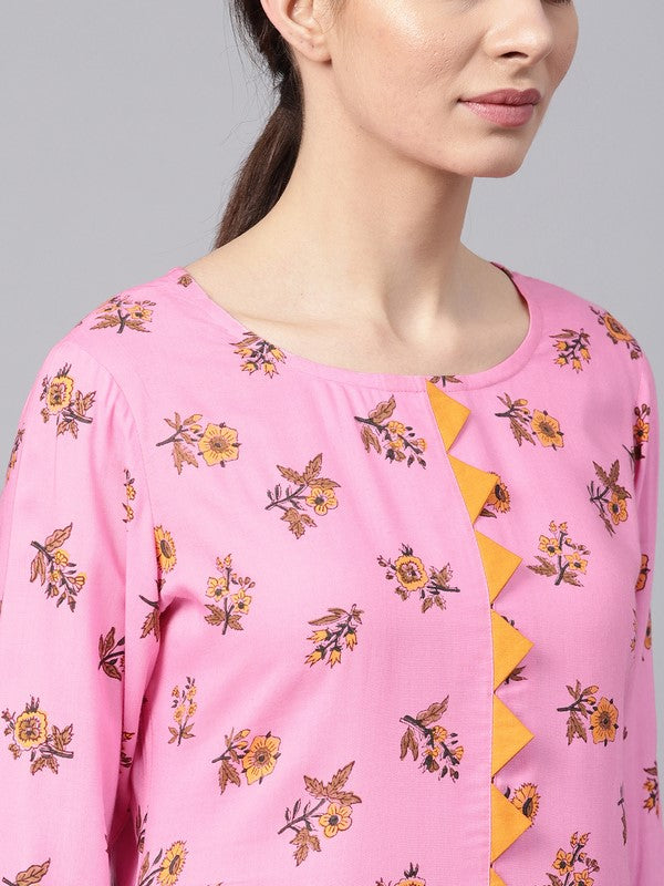 Idalia Pink Rayon Kurta With Mustard Cotton Pants