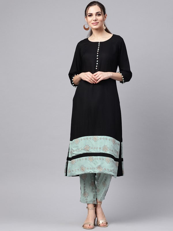 Idalia Black Kurta With Sage Blue Printed Pants