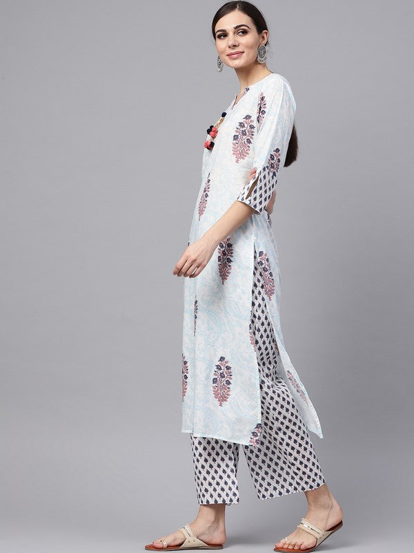 Idalia Sky Blue Printed Kurta With Printed Palazzo Pants