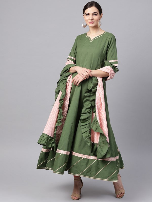 Idalia Mehandi Green Anarkali Kurta With Pink Printed Frilled Dupatta