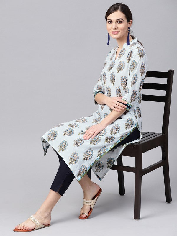 Idalia Off White Block Print Kurta With Navy Blue Cotton Pants