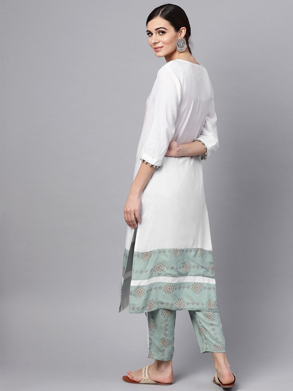 Idalia White Kurta With Printed Pants