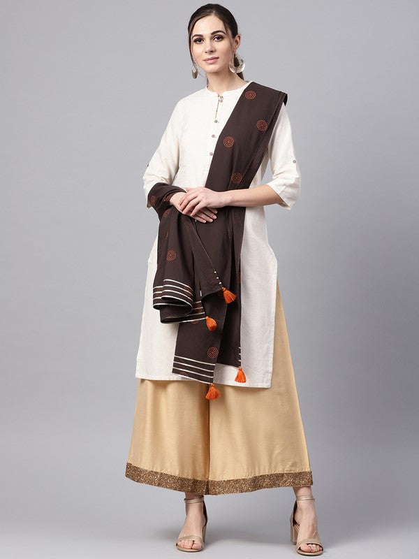 Idalia Brown Printed Dupatta