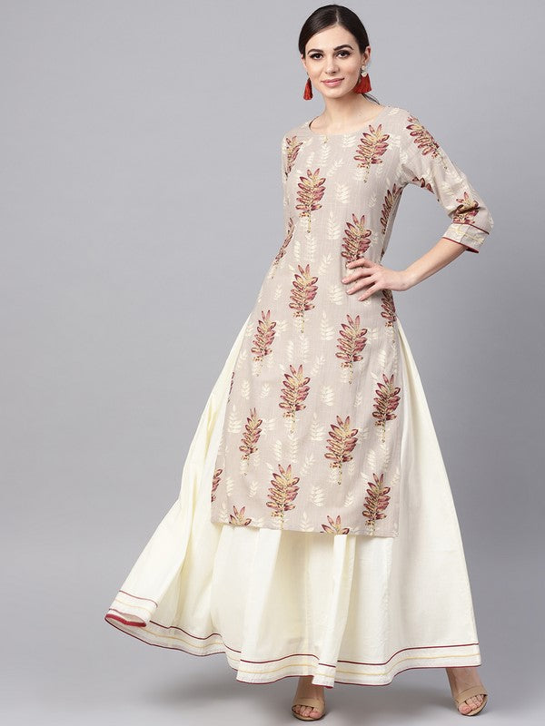 Idalia Grey Floral Print Kurta With White Solid Skirt