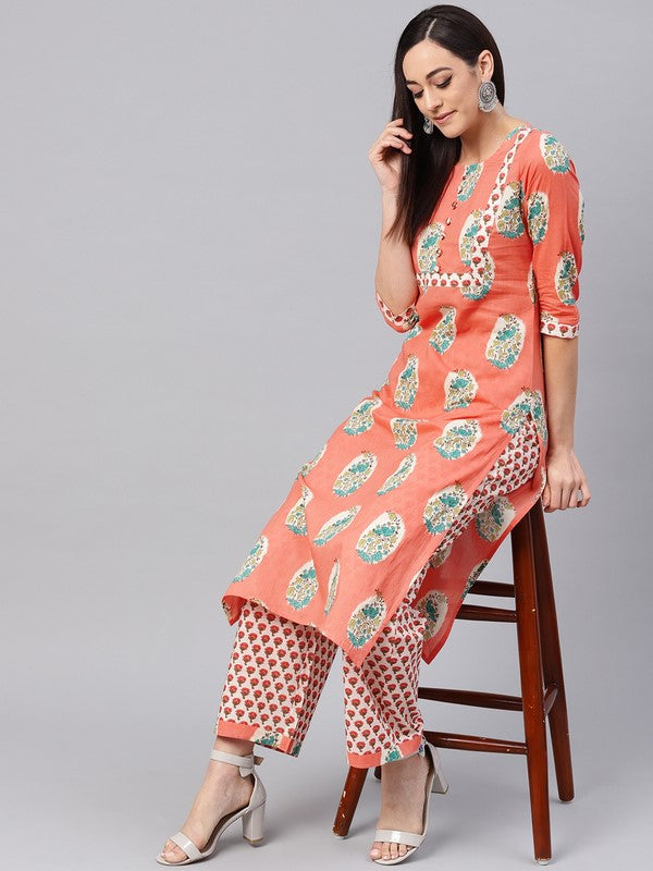 Idalia Salmon Printed Kurta With Printed Palazzo Pants