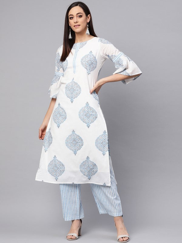 Idalia White Printed Kurta With Sky Blue Lining Printed Palazzo Pants