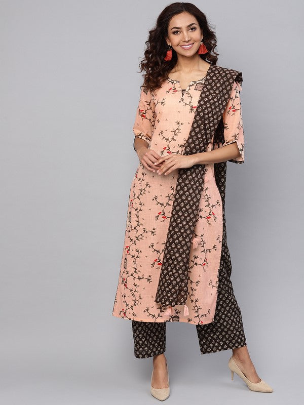 Idalia Peach Printed Kurta With Brown Palazzo Pants And Dupatta