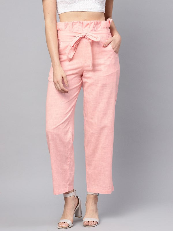 Idalia Baby Pink Solid Trousers