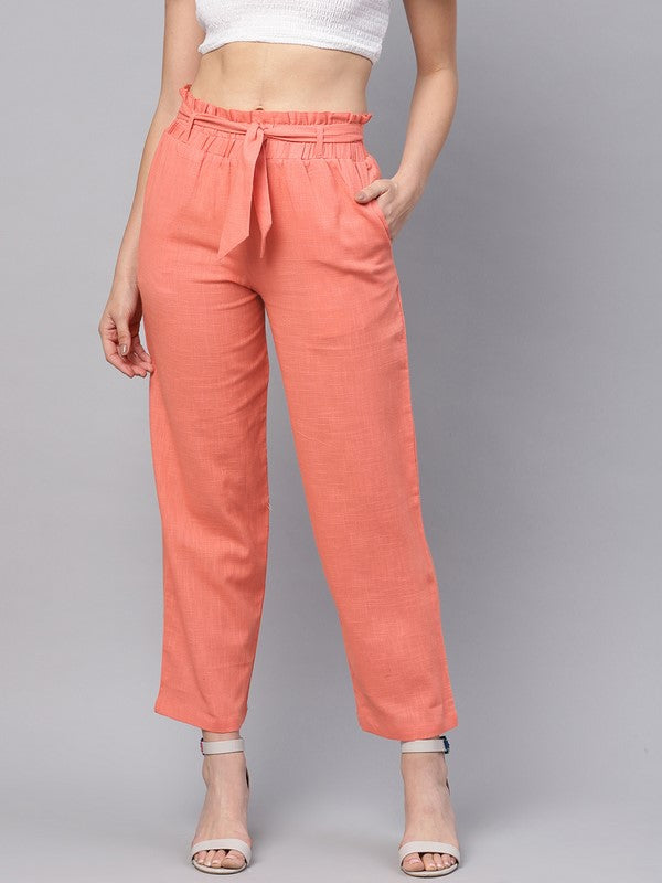 Idalia Peach Solid Trousers