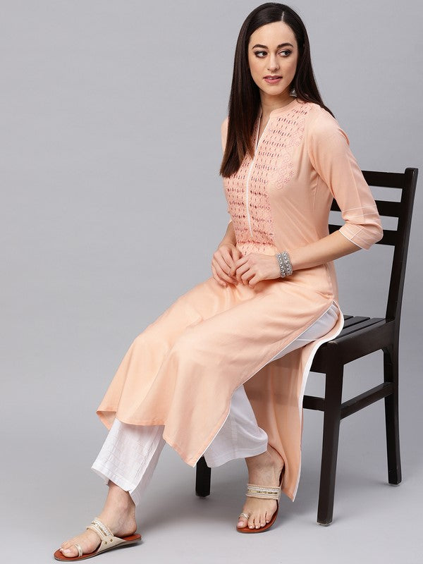 Idalia Cantaloupe Embroidered Kurta With White Palazzo Pants