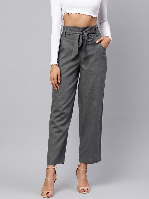 Idalia Grey Solid Trousers