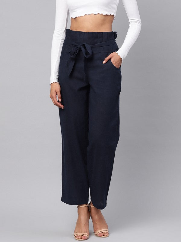 Idalia Navy Blue Solid Trousers