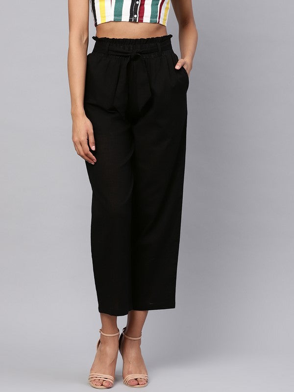 Idalia Black Solid Trousers