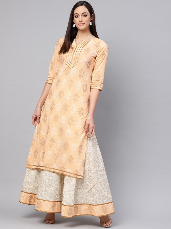 Idalia Saffron Printed Kurta With Gold Print Skirt