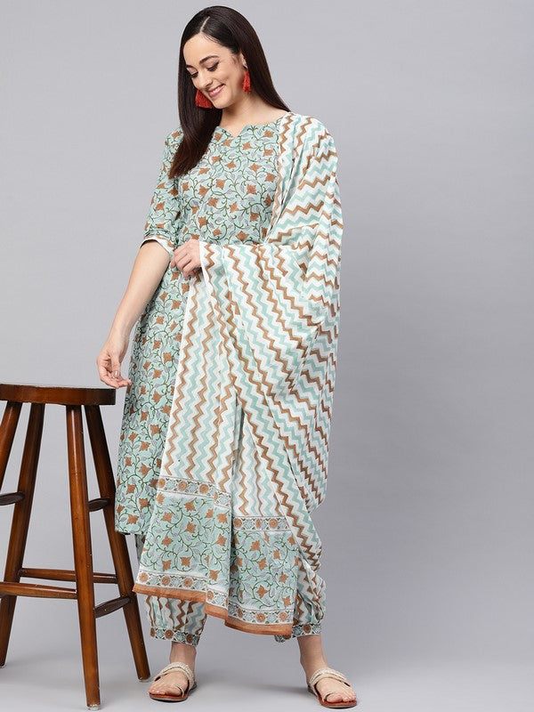 Idalia Hand Block  Jaal Print Kurta With Printed Salwar And Dupatta