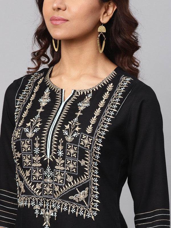 Idalia Embroidered Black Kurta With Palazzo Pants