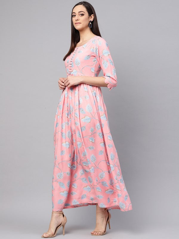 Idalia Light Pink Rayon Jaal Print Dress