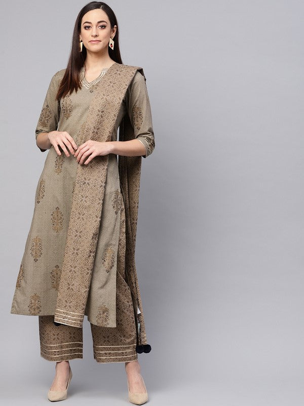 Idalia Gold Print Kurta With Printed Palazzo Pants And Dupatta