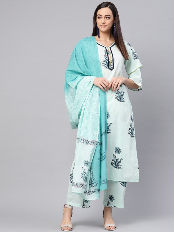 Idalia Sky Blue Hand Block Print Kurta With Dupatta And Printed Palazzo Pants