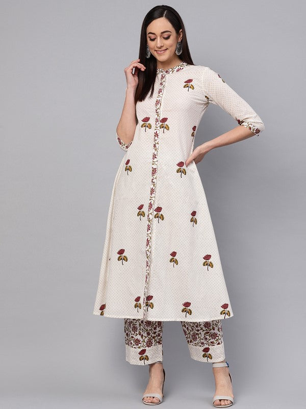 Idalia Off White Hand Block Print Kurta With Printed Palazzo Pants