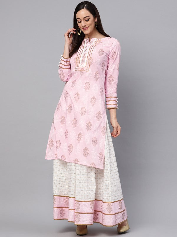 Idalia Baby Pink Printed Kurta With Gold Print Skirt